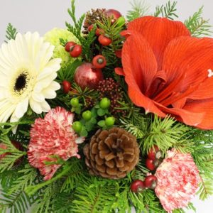 Holiday special with red and white flowers