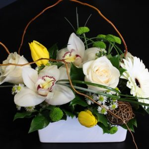 Modern flowers with white jar